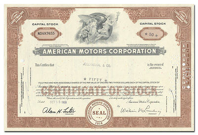 American Motors Corporation Stock Certificate