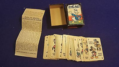 1946 Walt Disney DONALD DUCK Card Game w Box COMPLETE All 48 Cards With Inst.
