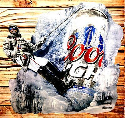 NEW Coors Light Beer Metal Wall Tin Sign Colorado Mountain Climber  24x24