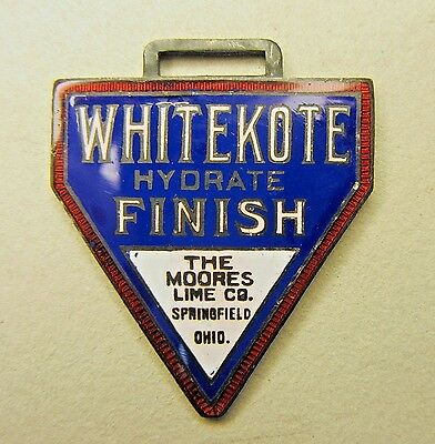 circa 1915 WHITEKOTE FINISH Moore's Lime Co. enamel inlay watch fob +