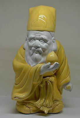 Vintage Japanese Porcelain Statue Of An Old Man ~ 10'' Tall ~
