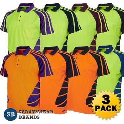 3 x Mens Hi Vis Spider Polo Shirt Work Contrast Top Size XS-5XL Workwear 6HSP