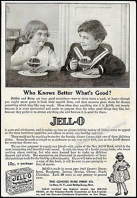 1916 JELLO Victorian Girl & Boy in Sailor Suit Antique Vintage PRINT AD