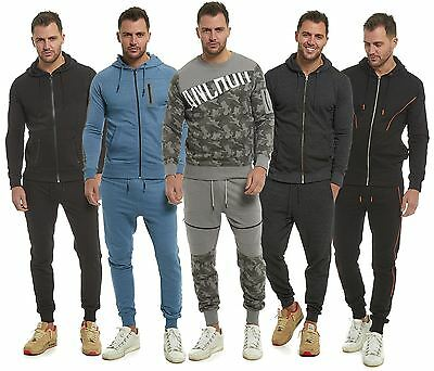 Mens Slim Fit Pique Full Tracksuit Hooded Top Jogging Bottoms S M L XL