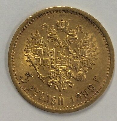 1899  5 Russian Roubles - .900 Gold - EF