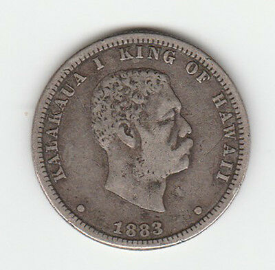 1883 Hawaii King Kalakaua I Quarter Dollar - VF