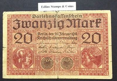 1918 20 Marks Banknote Germany circulated condition