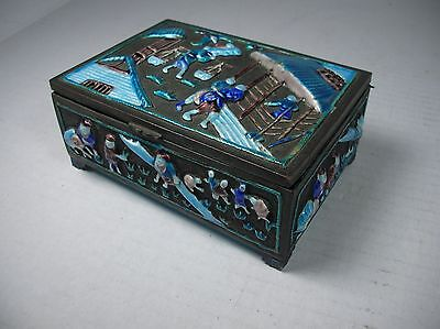 1920's Vintage Chinese Cloisonné Enamel Cigarette Case Box & Ashtray Set