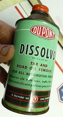 Vtg*DuPONT DISSOLVO*DOME/Cone Top*USA*Advertising*Metal Tin Can*1950's*NICE*NR !