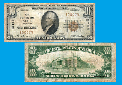 USA 10 dollars 1929. OKLAHOMA ALTUS. UNC - Reproduction