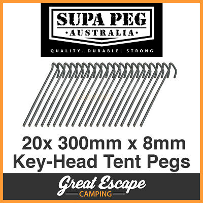 20 BUY 300x8mm SUPA-PEG TENT PEG HI-TENSILE STEEL KEY-HEAD CHISEL POINT
