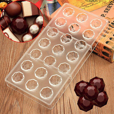 Round Diamond Shaped Chocolate Candy Mold Polycarbonate PC DIY Mould Cookie Set