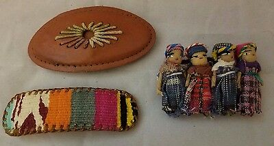 3 Vintage French Clip Large  Hair Barrettes Folk Peruvian Woven Brown