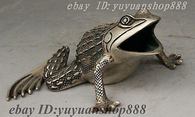 Chinese Collect Silver Carved Jump Big Mouth Frog Statue Incense Burner Censer