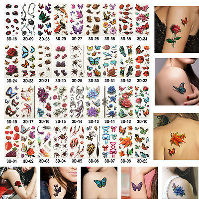 34 Style Large Temporary Tattoos for Women Body Art Tattoo Sticker 3d Fake Tatoo
