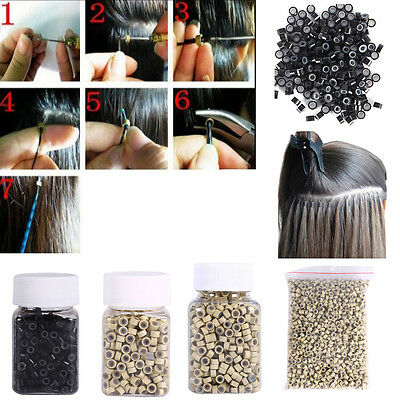 500/1000pcs Silicone Micro Link Rings 4mm/5mm Beads Lined for Hair Extensions LJ