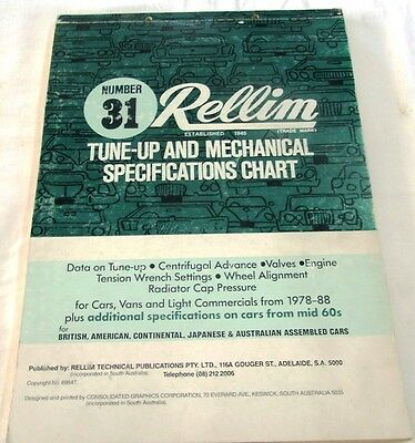 Rellim Tune-Up & Mechanical Specifications Chart