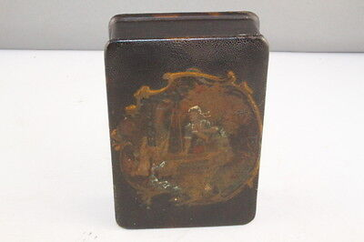 Antique 1850-1899 Papier Mache Trinket Box with Hand Painted Scene & Hinged Lid