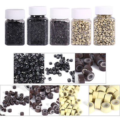 1000/2000pcs Silicone Micro Link Rings 5mm Beads Lined for Hair Extensions 3*4mm
