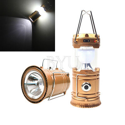 Solar Power Camping Hiking LED Lantern Rechargeable Tent Hanging Light Lamp