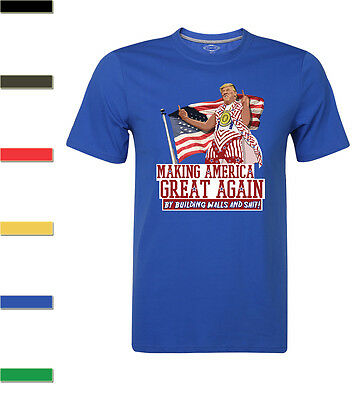 Donald Trump Making America Great Again By Building walls Funny T-Shirt For men