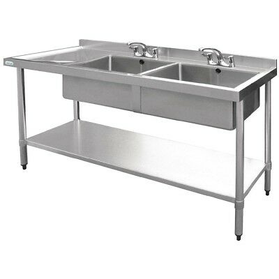 Vogue Double Bowl Sink Left Hand Drainer 1500mm Stainless Steel Stainless Steel