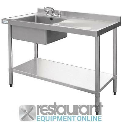 Vogue Stainless Steel Single Bowl Sink Right Hand Drainer 1000mm Stainless Steel