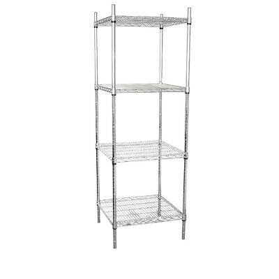Vogue 4 Tier Wire Tower Unit 610x610mm Stainless Steel | Overshelves and Undersh