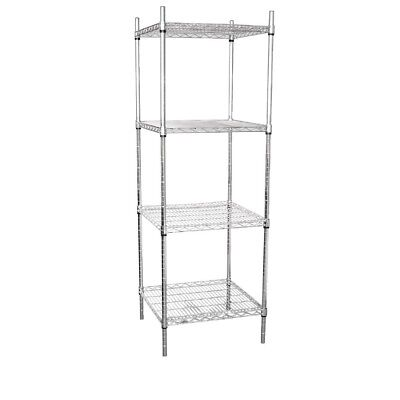 Vogue 4 Tier Wire Tower Unit 610x610mm Stainless Steel Shelving Modular Shelving