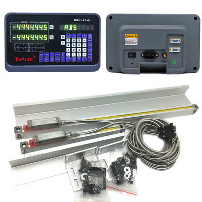 2 Axis Precision Linear Scales DRO Digital Readout Kit 450mm&900mm Glass Scale