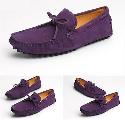 Mens suede loafer driving casual shoes lace up moccasin gommino 11 color size