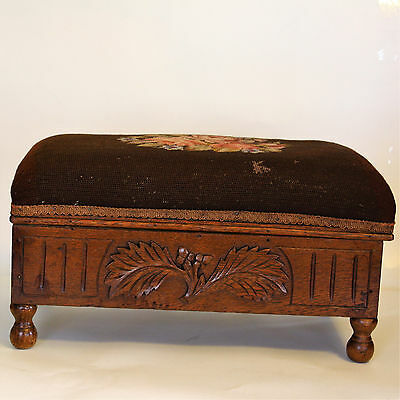 Antique Floral Needlepoint Tapestry Upholstered Wooden Storage Footstool