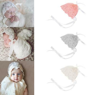 Newborn Stretch Lace Bonnet Hat, Baby Girl Boy Photo Photography Prop