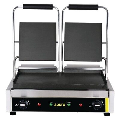 Apuro Bistro Double Contact Grill Smooth Plates Benchtop Appliances Sandwich and