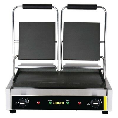 Apuro Bistro Double Contact Grill Smooth Plates Electric Cooking Equipment | San