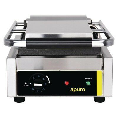 Apuro Bistro Single Contact Grill Smooth Plates Electric Cooking Equipment | San