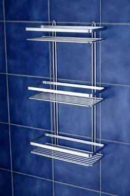 Chrome Satina Triple Rectangle Bathroom Shelf Shower Wall Caddy Tidy Basket