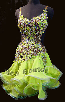 Women Ballroom Rumba Salsa Latin Dance Dress US 6 UK 8 Flesh Bright Green Beads