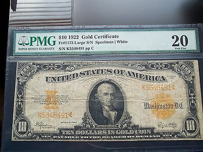 1922 $10 Gold Certificate FR# 1173 PMG VF-20 Large S/N
