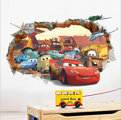 Disney 3D Cars McQueen Mater Out Wall Decal Sticker Decals Kids Room Decor Mural