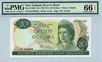 New Zealand 1977-1981 $20 Dollars Gem Unc Pmg 66 Epq