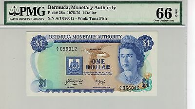 Bermuda 1975 $1 One Dollar First Series A1 Gem Unc Certified Pmg 66 Epq