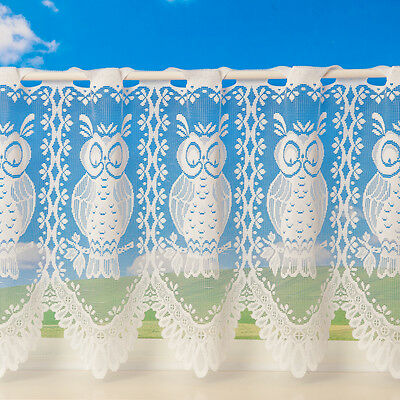 Luxury Lace Owl Cafe Net Curtain Window 2 Sizes White Cream Sold By The Metre