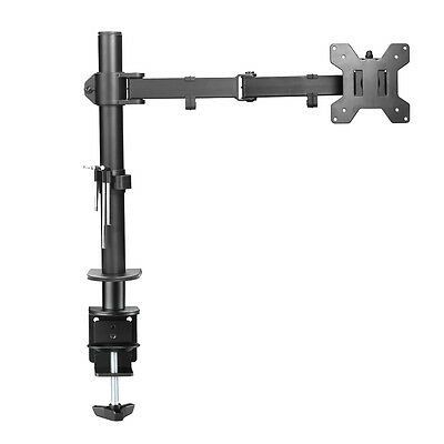 "Single Arm Desk Monitor Mount Stand TV LCD LED 13-27"" Screen Tilt VESA Clamp"