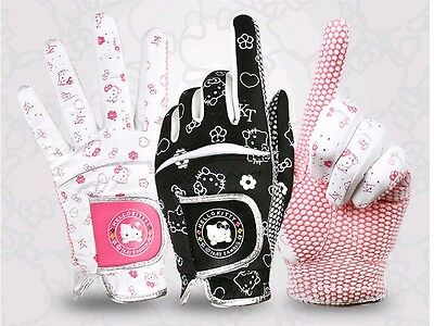 Hello Kitty Women Ladies Golf Glove Pair Left and RIght Hands White-Pink Black