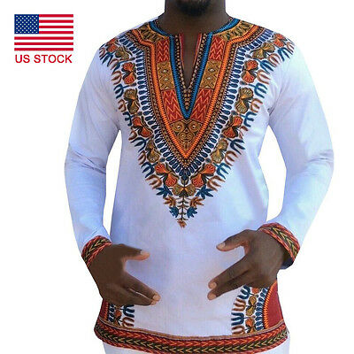 New African Printed Tribal Dashiki Long SleeveT-Shirt Mens Top Blouse US STOCK