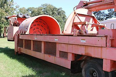 Orange Morbark Waste Recycler/Grinder with Cab & Grapple on dual Axel Trailer