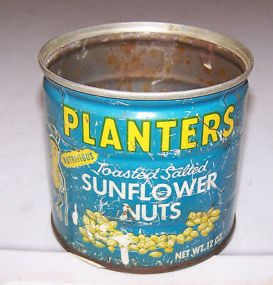 Vintage Tin PLANTER'S SUNFLOWER NUTS - Peanut - Well Worn AS-IS