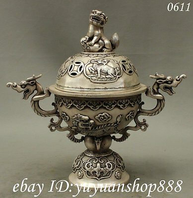 12 Chinese Buddhist Silver Carved Dragon Kylin Lion Statue Incense Burner Censer