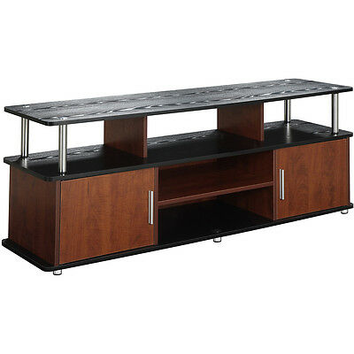 Modern Tv Stand 60 Inch Drawers Shelves Cabinet Espresso Media Glass